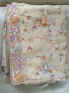 Cream-all-over-parsi-gara-hand Embroidered