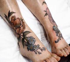 Image result for botanical inner ankle tattoo