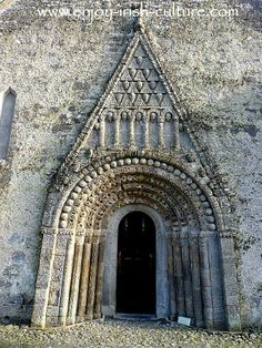 This is the Irish heritage site at Clonfert Cathedral, County Galway, Ireland built around 1180 which features the pinnacle of Romanesque art in Ireland in this stunning doorway carved from sandstone.