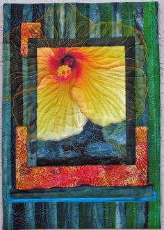 """Miami Threads: """"Generosity"""" by Judy Momenzadeh Quilt Art, Fabric Postcards, Flower Quilts, Thread Painting, Quilt Stitching, Small Quilts, Mini Quilts, Free Motion Quilting, Fabric Art"""
