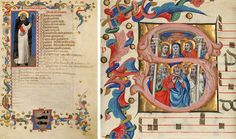 Two illuminations from medieval manuscripts side by side. On the left, a full-body illustration of Saint Dominic, wearing a black cape and white robe with a red book. On the right, the Virgin Mary is surrounded by figures inside an initial S.