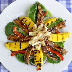 Grilled Mango Chicken Teriyaki Salad - getting a taste for healthy is very easy with this delicious grilled chicken salad.minus the chicken Rock Recipes, Mango Recipes, Salad Recipes, Mango Chicken, Teriyaki Chicken, Teriyaki Sauce, Barbacoa, Best Chicken Recipes, Salads