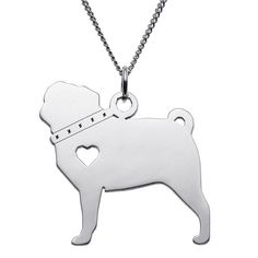 Sterling Pug Dog Silhouette Pendant