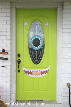 I think I need a pea green door just to make this Mike Wazowski door for Halloween!