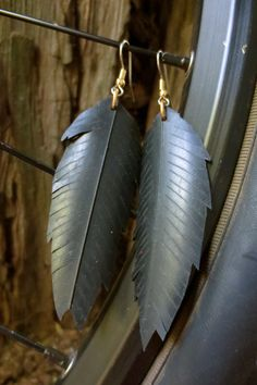 Recycled Bicycle bike Tube Feather Earrings by maybirdjewelry, $16.00