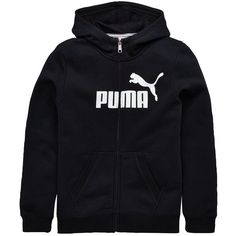 Puma Yb Essentials Fz Hoody ($32) ❤ liked on Polyvore featuring tops, hoodies, logo hoodies, full zip hoodies, logo hoodie, puma hoodie and puma hoodies