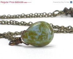 CHRISTMAS SALE Moss Green Necklace, Black Friday Etsy Picasso Pear  Moss Aqua Tan Pendant Antiqued Brass Necklace Spring Fashion- Moss Tears