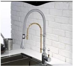 European style brass Gold/Chrome finished kitchen faucet Pull Out dish basin spring sink mixer multi-function rotating water tap
