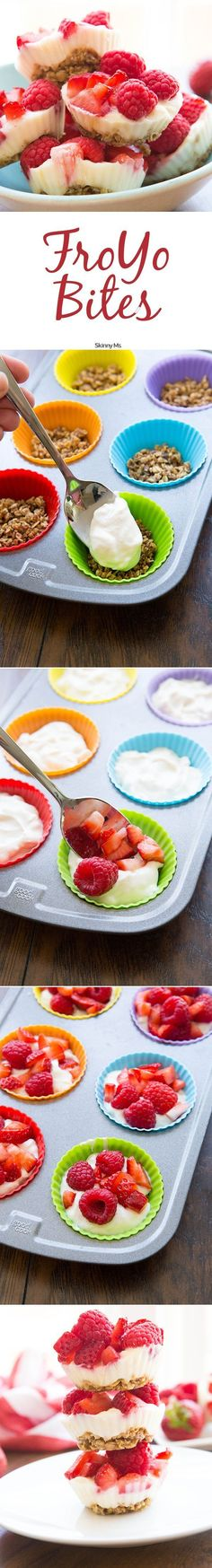 A little Greek yogurt goes a long way in these adorable FroYo bites. Try these healthy frozen yogurt treats for a refreshing and cooling dessert that's good for you. #froyo