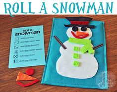"""Beat the winter blues - make a fun game called """"Roll A Snowman"""".  Used to play this in Kindergarten class never thought of using felt!"""