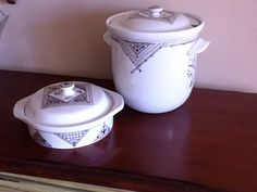 Small casserole and tureen made by Hall China and decorated by David B. Kelly.