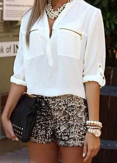 shorts white blouse beaded jewelry