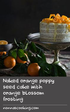 Naked orange poppy seed cake with orange blossom frosting | This pretty cake, with its heavenly orange blossom-scented frosting, is currently one of my favourite 'special occasion' cakes – particularly for birthday celebrations. The cake layers are baked in two batches but if you are lucky enough to have four cake pans that can fit in your oven all at once, feel free to make the mixture in one lot and bake them all together.