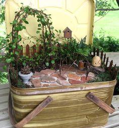 miniature gardens | Miniature Garden Trellis Fairy Garden by GardenBarn on Etsy