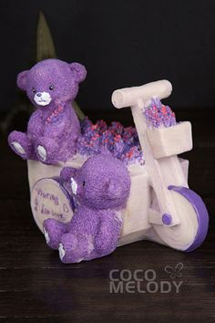 Grape Royale Resin Stroller Bear Wedding Decoration BS16018 #weddingessentails #weddingdecorations #cocomelody