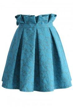Turquoise Rose Embroidered Pleated Skirt - Retro, Indie and Unique Fashion