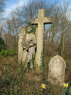 Cemetery Angel it's sad to see such a beautiful monument slowly fading into the past, that's just how mother nature does it. Cemetery Monuments, Cemetery Statues, Cemetery Headstones, Old Cemeteries, Cemetery Art, Graveyards, Highgate Cemetery, Fotografia Post Mortem, Last Exile