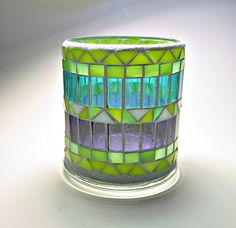 Stained glass mosaic votive candle holder por threesisterscandles, $22.00