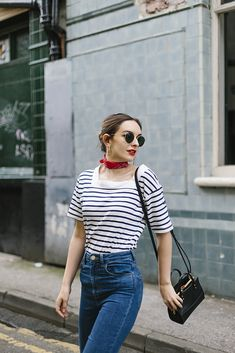 Cannes to Manchester, simple, stripe top and jeans, silk scarf, summer, spring, fashion, style, sunglasses