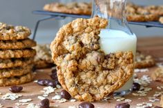 Oatmeal Dark Chocolate Covered Raisin Cookies from The BakerMama - Gold Medal Blog