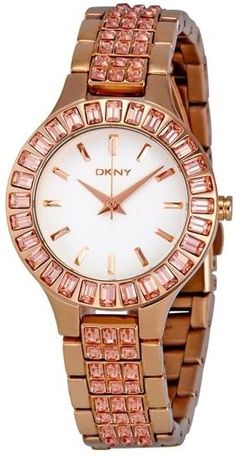 DKNY rose gold watch with pink rhinestones.