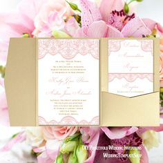 DIY Wedding Invitation Templates, Vintage Lace in Blush Pink, You Edit & Print.