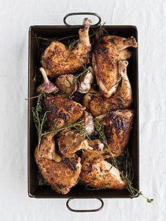Roast Chicken with Herb and Garlic Pan Drippings Photo - Roast Chicken Recipe | Epicurious.com