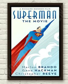 Vintage Art Deco Superman Movie Film Poster Print Picture A3 A4 in Art, Posters…