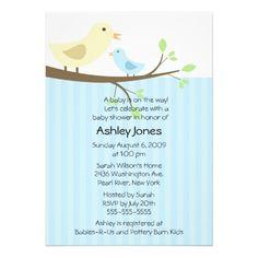 Cute Mama Bird  Baby Boy Baby Shower Personalized Invites