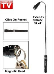 Bell and Howell iScope Telescopic Light by Bell. $16.99. the Bell and Howell iscope telescopic light provides 100,000 hours of LED lighting. includeds batteries, a built in pocket clip for portability, and a magnetic end, for pick ups in hard to reach places. made of heavy duty aluminum