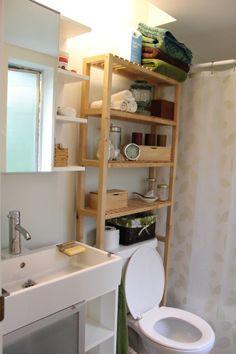New toilet, shelf, mirror and vanity. All from Ikea. Except the toilet! Lillangen bathroom.