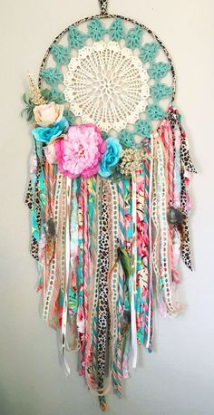 handmade-boho-dream-catcher-for-girls-room-or-nursery-pink-coral-turquoise-bohemian-bedroom-decor-boho-baby-shower-poetry-tea-babynurserydecor-boh/ SULTANGAZI SEARCH Boho Baby Shower, Bohemian Bedrooms, Bohemian Decor, Bohemian Crafts, Boho Diy, Bohemian Gypsy, Crochet Projects, Craft Projects, Hippie Trippy