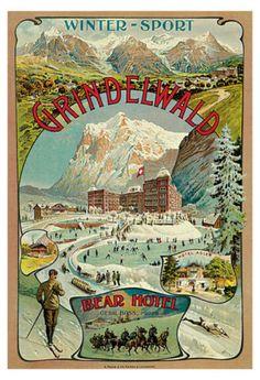 Grindelwald-Switzerland-Poster-Winter-Sport-Bear-Hotel-Vintage-Travel-Poster