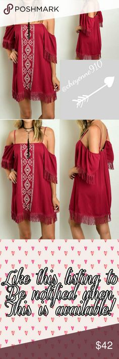 """Boho Fringe Dress Must have fall dress! This wine colored bohemian style dress features an ivory embroidered center, fringe details on sleeves and hem, cold shoulder style, and adjuatable straps. Made of rayon.  Measurements laying flat: Length (from bottom of strap down) Bust (armpit to armpit)  Small  Length 26"""" Bust 17"""" (stretches to 19"""")  Medium  Length 27"""" Bust 18"""" (stretches to 20"""")  Large  Length 28"""" Bust 19"""" (stretches to 21"""") Dresses Mini"""