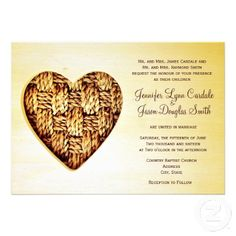 Rustic Country Twine Heart Wedding Invitations