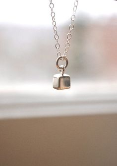 Silver Square Necklace Simple Sterling Silver