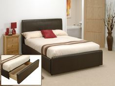 "Snuggle Beds Tessa (End Storage Drawer). 4' 6"" Double Faux Leather Bed"
