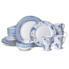 MIkasa Kiley Bone China 16PC Dinnerware Set (Service for 4) - Overstock - 32120024 Outdoor Garden Sink, Casual Dinnerware Sets, Blue And White Dinnerware, Bone China Dinnerware, How To Use Dishwasher, Blue Bedding, Blue China, Traditional Decor, Cereal Bowls