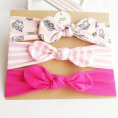 3-pack Sassy Bowknot Design Headband Set for Baby Girl