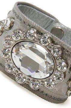 Silver mesh bangle with rhinestones
