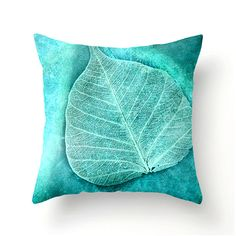 Skeletal Leaf decorative throw pillow, turquoise teal aqua accent cushion turquoise pillow covers turquoise cushion covers home spring decor...