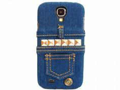 Denim Jeans Fabric Silver Pyramid Stud Hard Case Cover For Samsung Galaxy LTE T-mobile Jeans Fabric, Cut Out Design, Mobile Covers, Phone Cover, Denim Jeans, Studs, Iphone Cases, Samsung, Silver