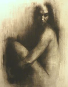 """Saatchi Online Artist: Patrick Palmer; Charcoal, 2010, Drawing """"Hush 3""""  I love how she seems to grow from the musty dark if the charcoal. I would enjoy trying this."""