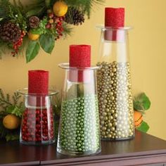 "Glass Candle Vases & Led Beaded Candle    Small, 8.25""h x 6.5"" dia. $45.00               Medium, 13""h x 6.5"" dia. $55.00                   Large, 17.75""h x 6.5"" dia. $65.00"