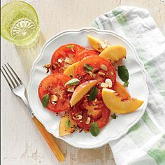 Tomato and Peach Salad with Almonds | Cooking Light #myplate #fruit