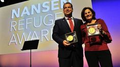 Joint winners the Hellenic Rescue Team and Efi Latsoudi of PIKPA village on Lesvos presented with humanitarian award at ceremony in Geneva.