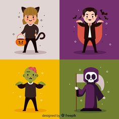 Halloween character collection in flat design Halloween Icons, Halloween Vector, Halloween Photos, Halloween Design, Halloween Illustration, Flat Illustration, Character Illustration, Illustrations, Character Flat Design