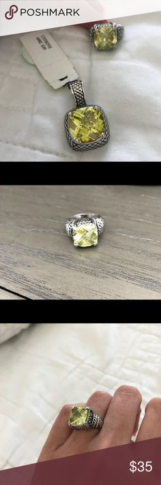 Green Citrine ring & pendent Gorgeous green citrine ring size 5 Along with pendent selling as a set!  Excellent condition Premier Designs Jewelry Rings
