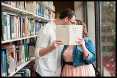 Winter engagement session, library, engagement photos, indoor engagement photos