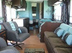 RV/Trailer Makeover: You can still see the bones of the RV but the vinyl floor and changes in color both pull the space together and make it more than just another RV.